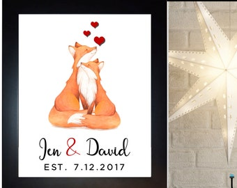 Fox Couple Wedding Gift, Last Name,, Anniversary Gift Him Her, Fox Wall Art Print, Birthday Present  Anniversary Gift For Husband, Wife