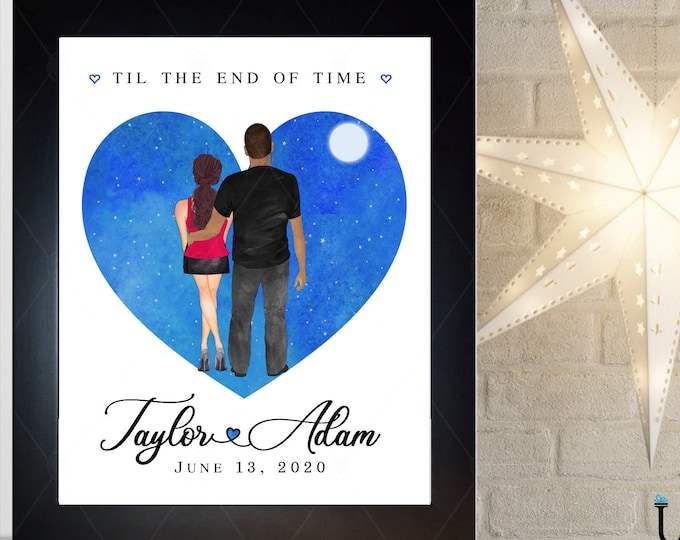 Heart, Anniversary Gift For Men, Valentines Day Gift Couples, Husband, Starry Night Art, Moon, Names, Date, Quote Choice