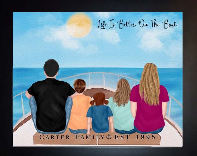 Family Gifts for Parents, Gift Dad Mom, Birthday Gift Parents, Yacht Party, Boating Vacation, Sailing Gift, Family Wall Decor