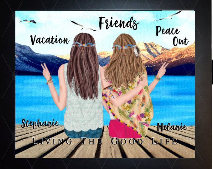 Boho Friends Birthday Gift, Birthday Gift Friends, Sisters, Family, Vacation Memories, Birthday Gifts For Best Friends Hippie