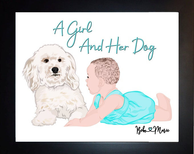 Dog Baby Portrait, Birthday Gift For Grandparents, Parents, Nursery Art, Unique Baby Present Gift From Daughter, Son, Custom Nursery Print