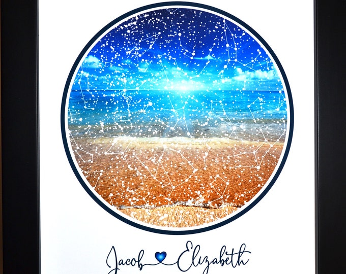 1 Beach Style Night Sky Print, Anniversary Gift for Men, Personalized Wedding Gift, Engagement Gift For Couple