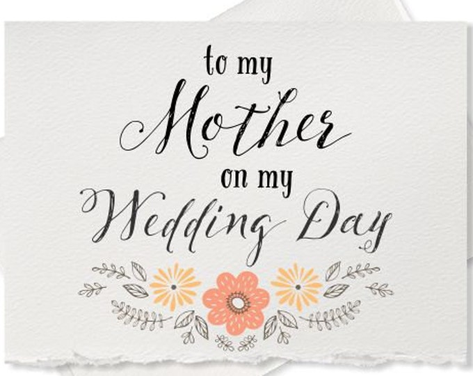 To my mother on my wedding day mom wedding thank you card parents of the bride groom gift note to my mom dad