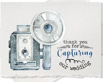 Thank you card for wedding photographer, thank you for capturing our wedding, from newlyweds, wedding party gift ideas for wedding vendor