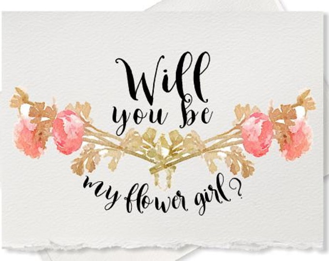 Card to ask, Will you be my Flower Girl, card for wedding party, invitation bridesmaid card Maid of Honor, bridesmaid proposal card