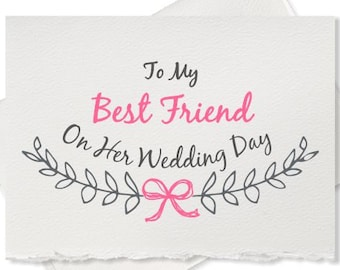 Wedding congratulations card from bridesmaid to bride wedding day card, from groomsman to groom, wedding cards