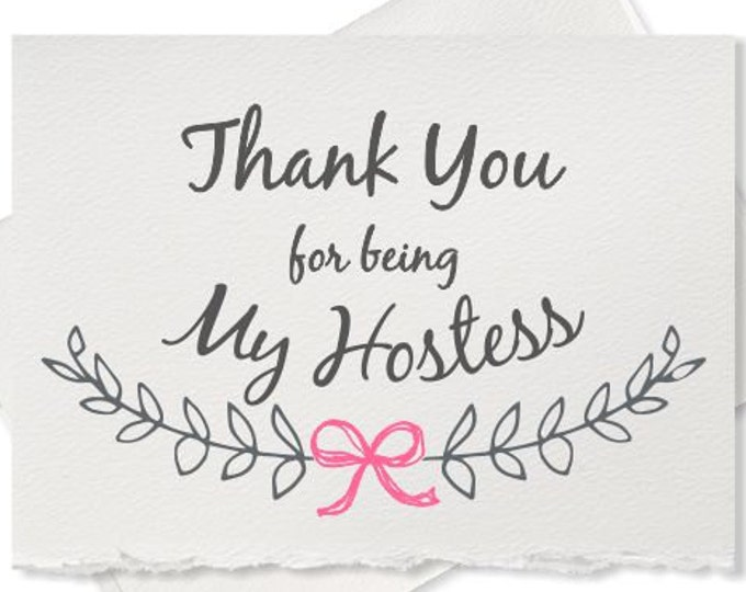 Thank you for being my hostess wedding party hostess bridal shower hostess card wedding thank you card rustic wedding thank yous