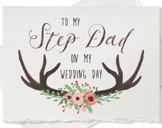 Wedding day thank you card to my step dad, wedding card for step father of the bride groom gift note to my step parents on wedding day