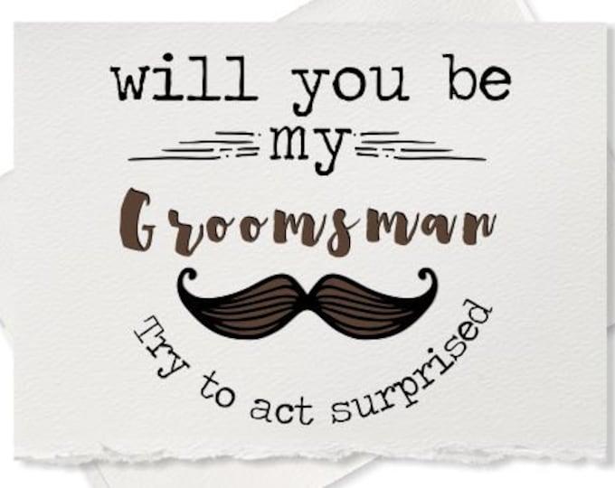 Will you be my groomsman rustic wedding recycled wedding best man card for gift for groomsman engagement ring bearer wedding party