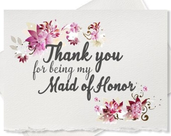 Thank you for being my maid of honor thank you card from bride to bridesmaid wedding party wedding day card bridal party cards