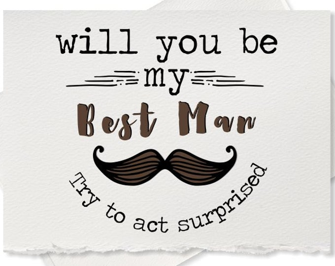 Will you be my best man card from groom groomsman engagement ring bearer wedding party rustic wedding recycled wedding