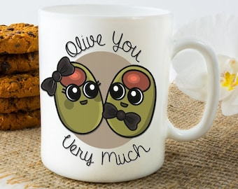 Cute Mug, Mothers Day Gift, Mom Gifts, Fathers Day Gift, Dad Gift, Olives, Ceramic Coffee Mug Gift, Mom, Dad, Christmas Present. Unique