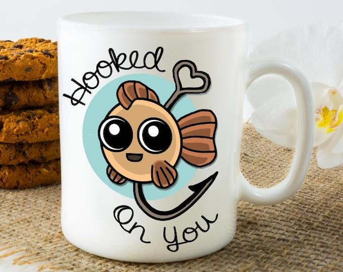 Fisherman mug, Christmas gifts for boyfriend, husband, Mugs, Christmas Gifts for him, men mug gift, Christmas fishing gifts, Hooked on you