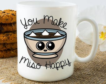 Miso happy, mugs, cute valentines day gift for coworker, friend gift, cook, miso lover, cute mugs, gifts for valentines day gifts, coworker