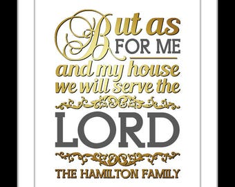 1 As for me and my house sign, personalized bible verse wall art, we will serve the lord, scripture, gift, christian wall art, joshua 24 15