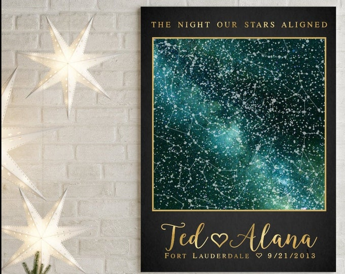 1 Custom Night Sky Print, Anniversary Gift for Men, Personalize Wedding Gift, Engagement Gift for Couple Constellation Custom Star Map 58397
