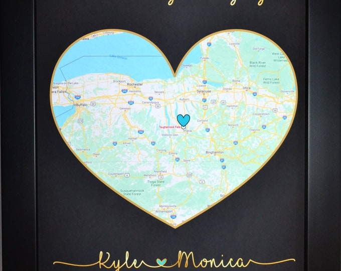 One Heart Map, Anniversary Gift, Personalized Gifts, Wedding Gift, Engagement Gift Ideas, Art Print cjury