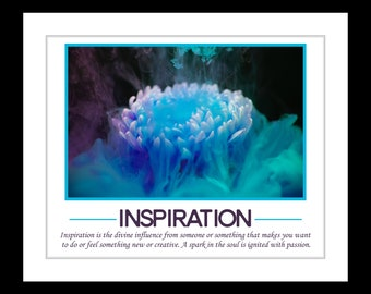 1 inspiration quote art, office decor series, underwater flower gift for coworker boss office decoration motivational canvas & framed option