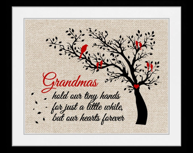 grandmas hold our heart, wall art, home decor, art prints, canvas and framed options, cards