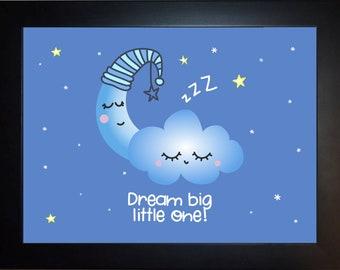 Moon Cloud Wall Art, home decor, art prints, canvas and framed options, card option