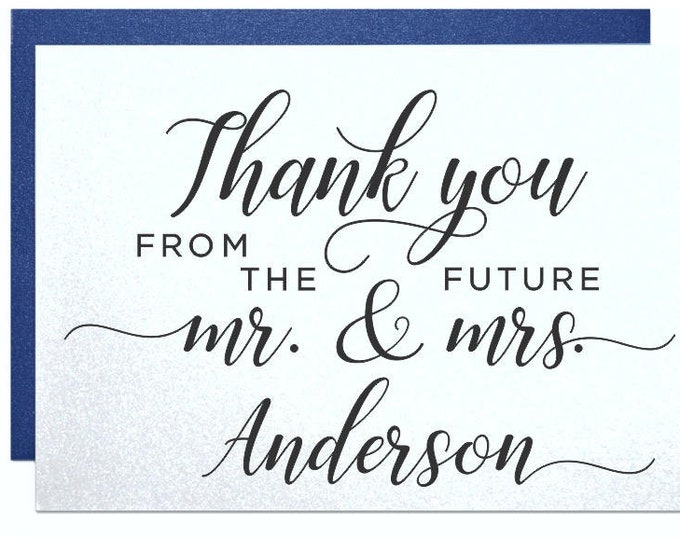 Personalized wedding thank you cards, gifts from mr and mrs, thank you notes, wedding bridal shower engagement party thank you cards