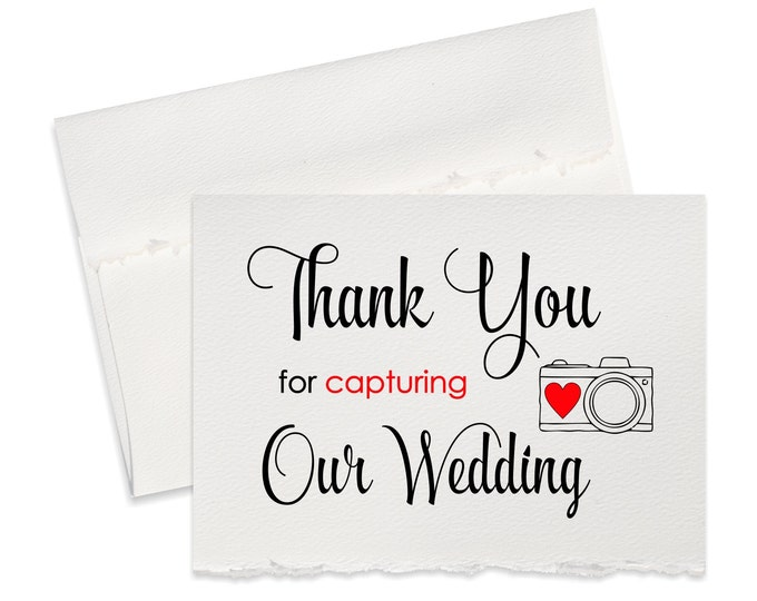 Thank you card for wedding photographer, thank you for capturing our wedding party gift ideas, cards from newlyweds