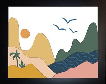 Abstract Wall Art, Choose Colors, Home Decor, Colorful Decor Hills Mountain Art Print