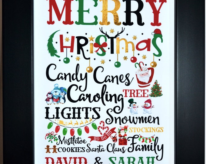 Personalized Holiday Decor, Christmas Gift For Couple, Parents, Christmas Decoration, Housewarming Canvas, Christmas Art Print, Holiday