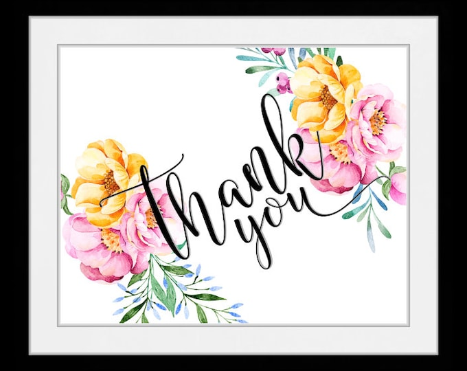 Thank you floral, wall art, home decor, art prints, canvas and framed options, cards