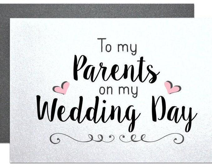 Parents wedding gift thank you card, parents of the bride gift, parents of groom gift, note to parents wedding gifts on wedding day