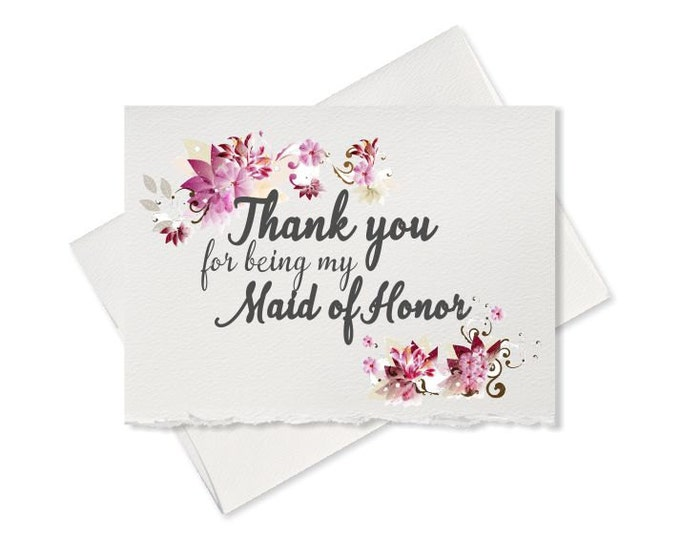 Rustic wedding, thank you card from bride to maid of honor, card wedding bridal party floral card, thank you for being my maid of honor