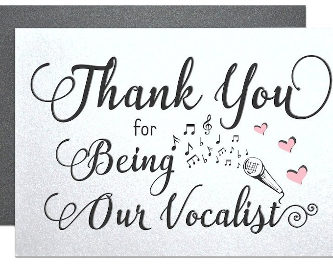 Thank Your Vocalist Card, Wedding Thank You Greeting Cards For Singers Performers Musicians DJ MC