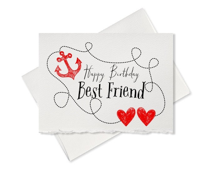 Happy birthday card best friend gift birthday card for friends present greeting card note card birthday cards anchor Hearts cards blank card