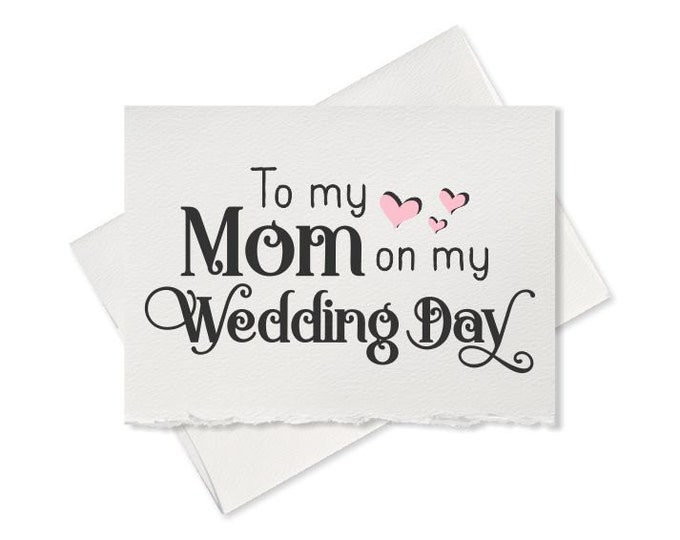 Wedding thank you card for mother of the bride gift for mother of the groom, note to my mom on my wedding card for mom