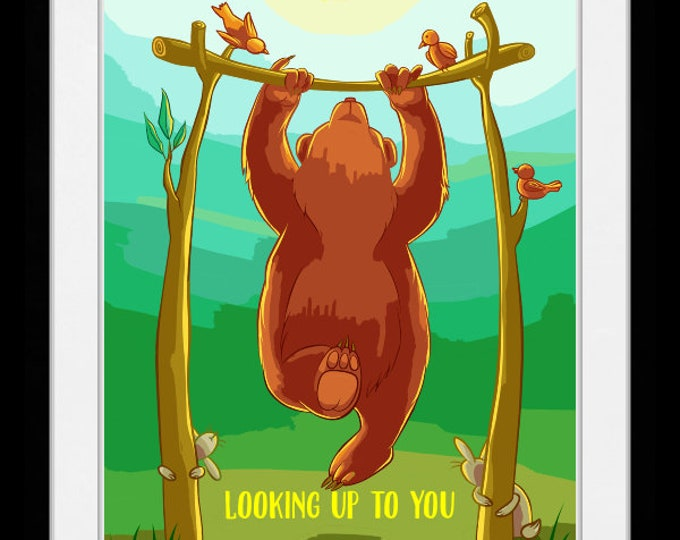 Looking up to you bear, wall art, home decor, art prints, canvas and framed options, cards