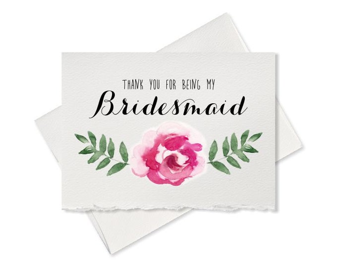 Pretty Bridesmaid Thank You Card, From Bride To Bridesmaid wedding party card thank you bridesmaid Wedding thank you card