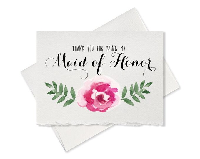 Maid of honor thank you card from bride to bridesmaid, thank you for being my wedding party wedding card bridal party gift for Maid Of Honor