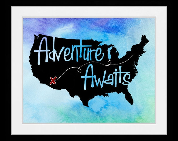 Adventure Awaits US Map blue watercolor, wall art, home decor, art prints, canvas and framed options, cards