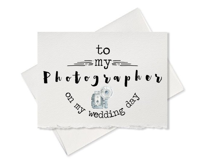 Thank you card for wedding photographer, wedding vendor, thank you for capturing our wedding, to wedding photographer