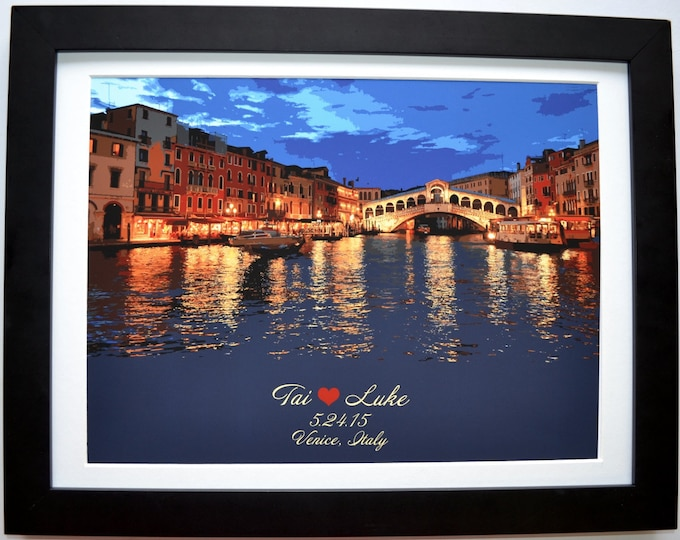 City Skyline,  Any City Personalized, Add Name, Date, Quote, Color.  Choose Style.  Couples Gift Ideas