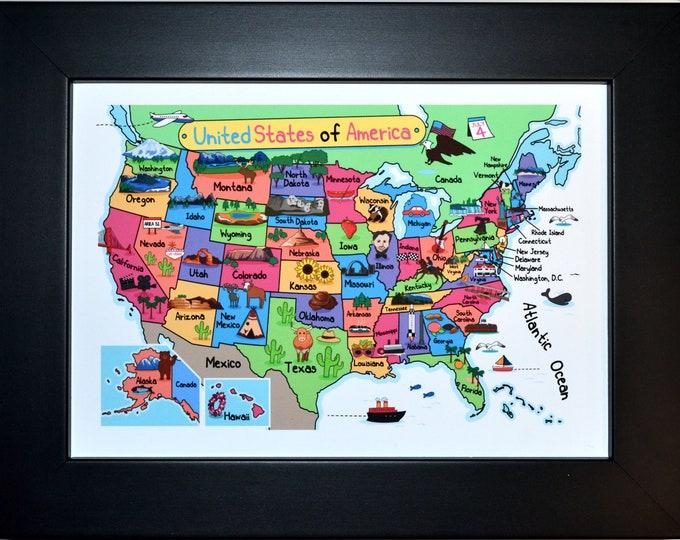Fun USA map, Wall Art, home decor, art prints, canvas and framed options, card option