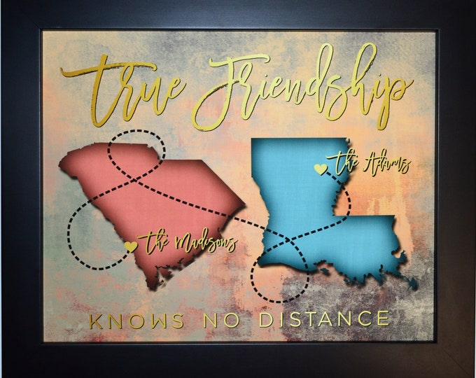Long Distance Best Friend Photo Map, Yellow, Two Maps, Travel, Sisters, Bon Voyage, Farewell, Friend Moving Away, Going to College  86529