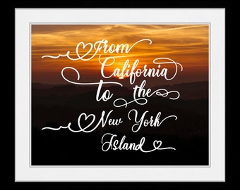 1 Americana Art Print, Orange Art, Canvas Print Quote, California Print, Sunset Art, Landscape Art Print Landscape Canvas Handlettered Print