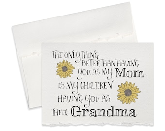 Pregnancy reveal card to grandma, grandmother gift, pregnancy announcement grandparents, the only thing better than having you as my mom