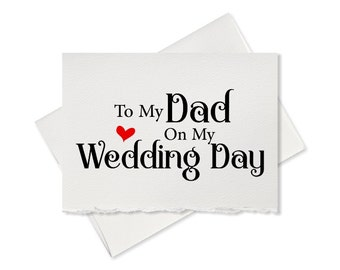 To my dad on my wedding day, rustic wedding thank you card father of the bride groom wedding gift notes