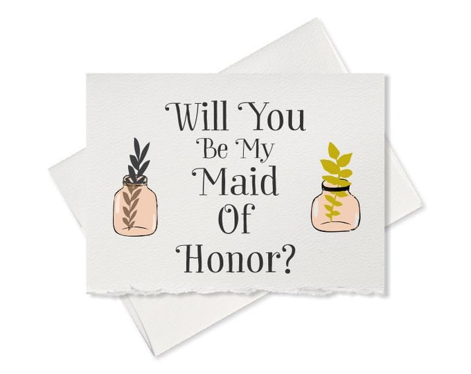 Will you be my Maid Of Honor, rustic wedding, recycled wedding, flower girl card from bride engagement Bridesmaid wedding party