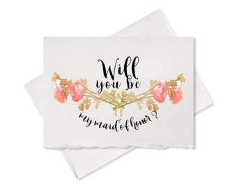 Will you be my Maid of Honor, rustic wedding, recycled wedding, flower girl card from bride engagement Bridesmaid wedding party bridal cards