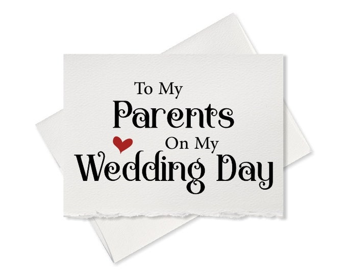 Thank you card to my parents on my wedding day, card gift for parents of the bride note grooms mom dad wedding gift
