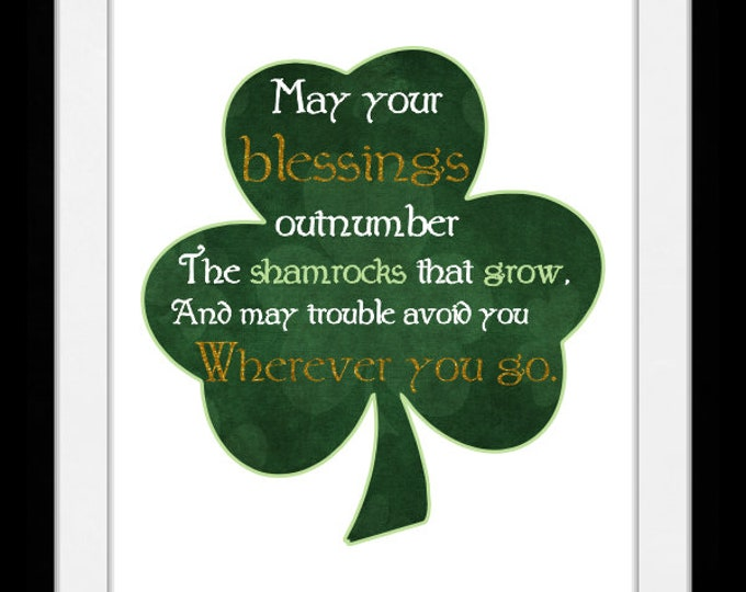May your blessings outnumber shamrock, wall art, home decor, art prints, canvas and framed options, cards