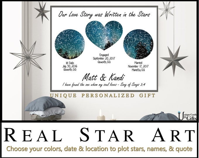 Anniversary Gift for Wife, 1 Year Anniversary Gift for Him Wedding Night Sky Chart Print Personalized Bridal Shower Gift IdeasRomanticGift